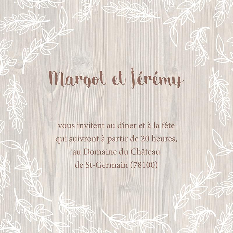 Carte d'invitation mariage Tendance bois pas cher