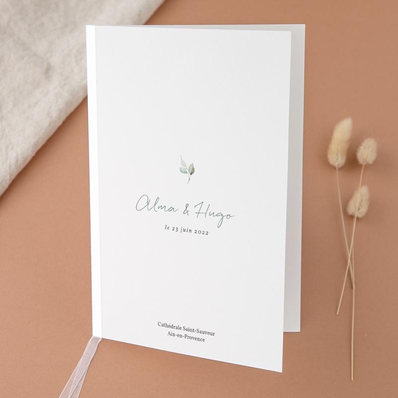 Livret de messe mariage Pastel de Fleurs & Feuillage, 15 x 22 cm