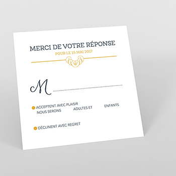 Carton réponse mariage Rococo graphique
