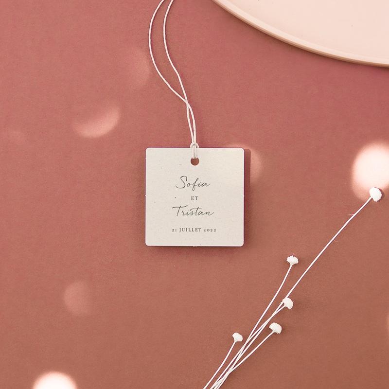 Etiquettes cadeaux mariage Brin Olivier, naturel