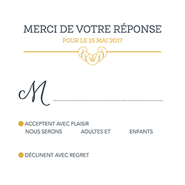 Carton réponse mariage Rococo graphique pas cher