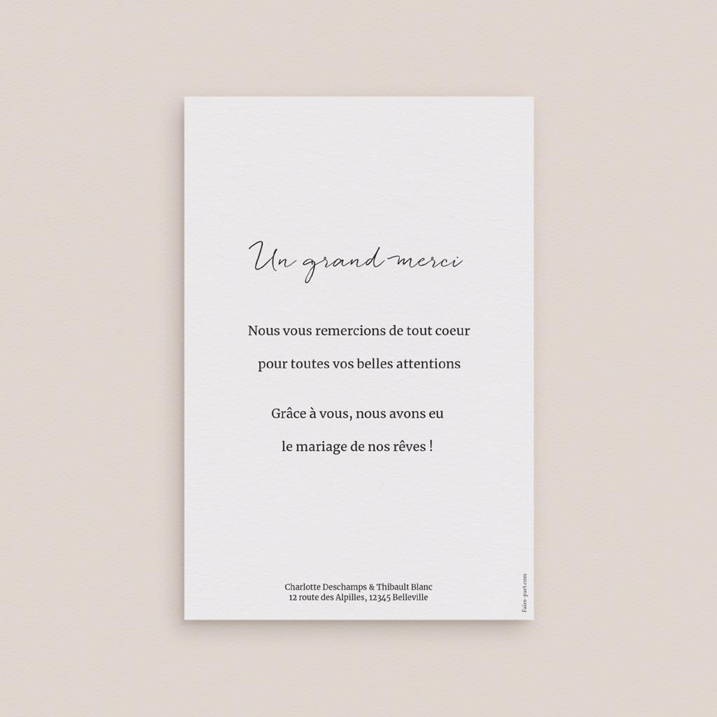 Carte de remerciement mariage Perfect Day Ardoise, Portrait pas cher