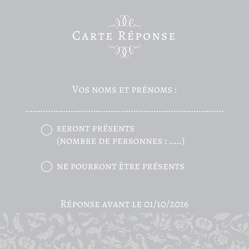 Carton réponse mariage Letter Press gris pas cher