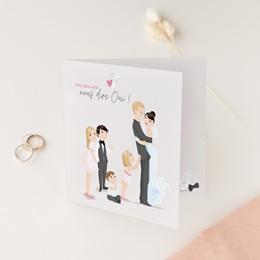Faire-part de mariage Youpi famille de 4 enfants, 14 x 14