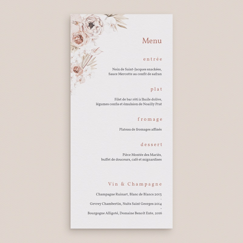 Menu mariage Bois de Santal, repas de noces gratuit