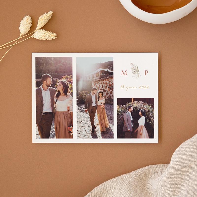 Carte de remerciement mariage Bois de Santal, 3 photos