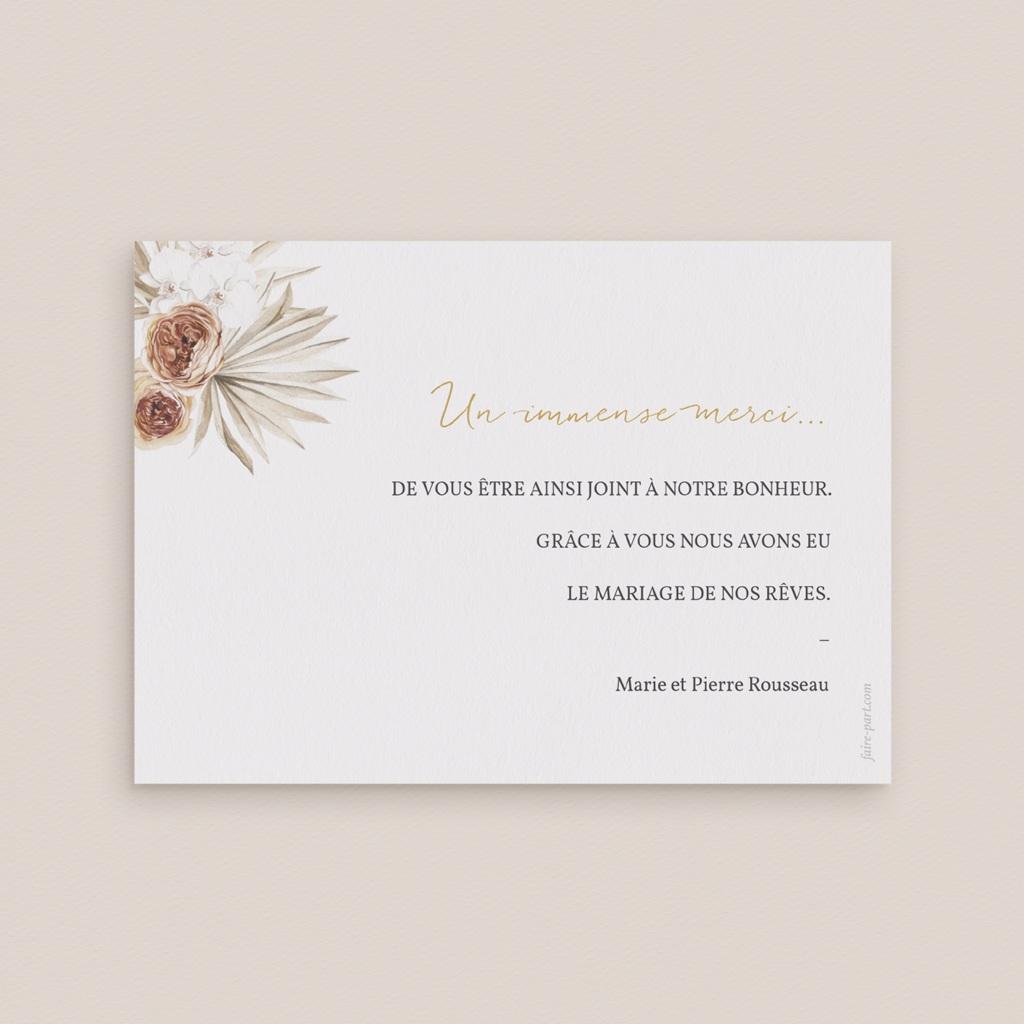 Carte de remerciement mariage Bois de Santal, 3 photos pas cher