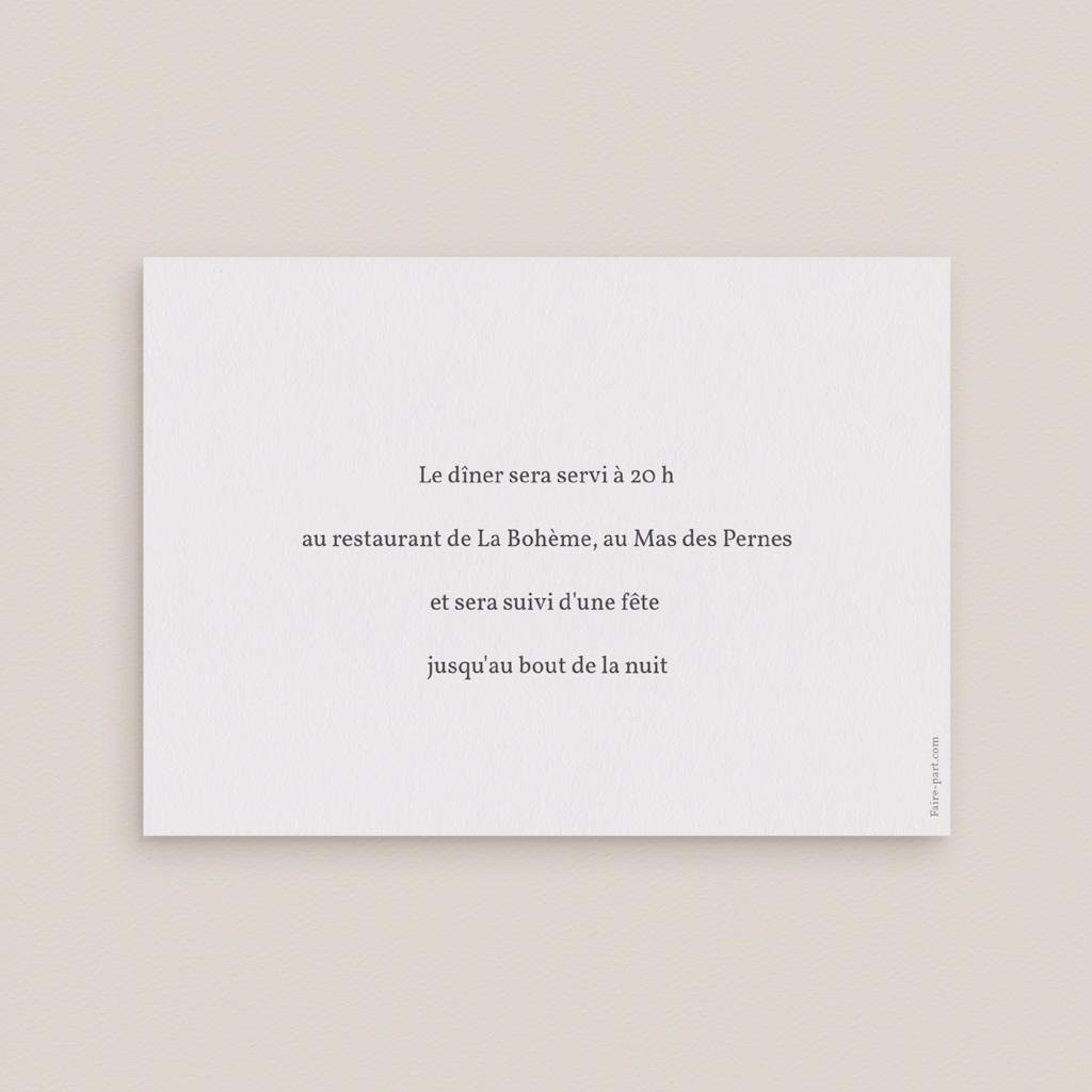 Carte d'invitation mariage Champêtre, Réception pas cher