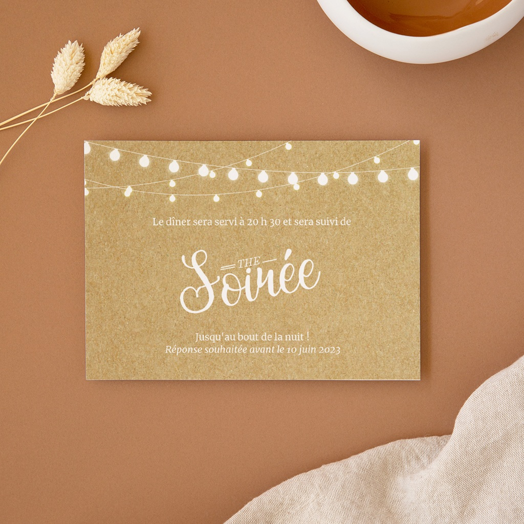 Carte d'invitation mariage Perfect Day Kraft, Soirée & Photo