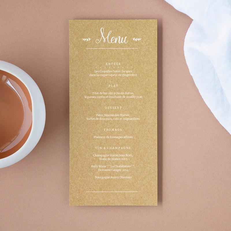 Menu mariage Perfect Day Kraft, Repas 10 x 21 cm