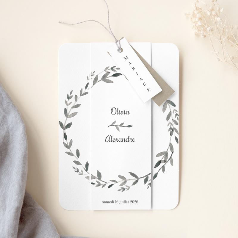 Faire-part de mariage Couronne Olivier Naturel, 4 en 1