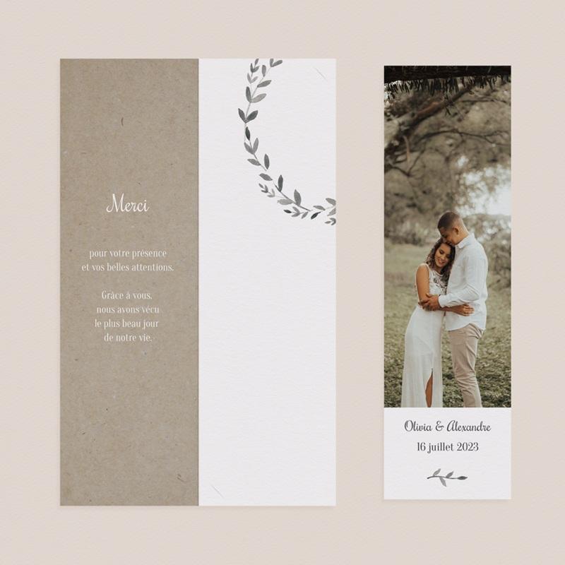 Carte de remerciement mariage Couronne Olivier Naturel, 2 en 1 pas cher
