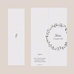 Carte de remerciement mariage Couronne Olivier Naturel, 2 en 1