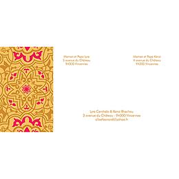 Faire-part de mariage Mauresque rose jaune gratuit