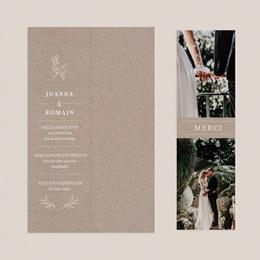 Carte de remerciement mariage Kraft Folk, 2 en 1, 2 photos pas cher