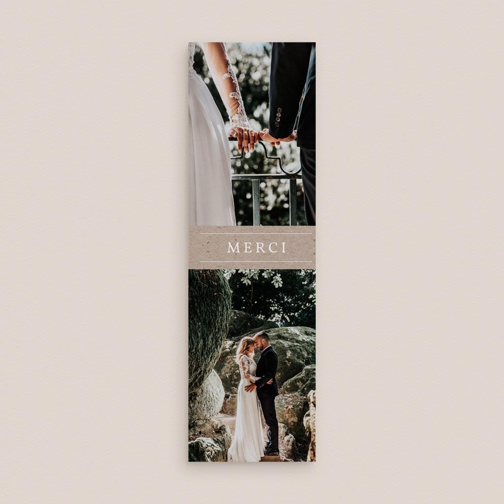 Carte de remerciement mariage Kraft Folk, 2 en 1, 2 photos gratuit