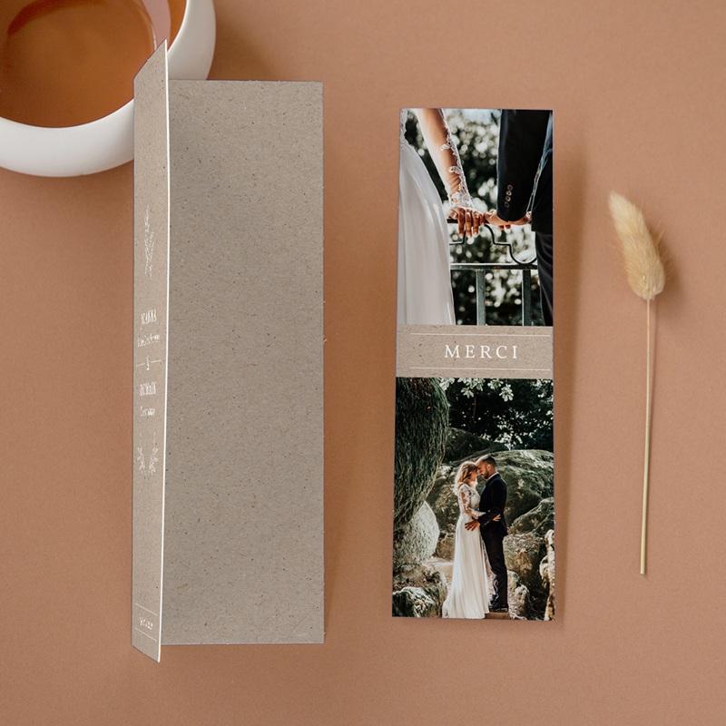Carte de remerciement mariage Kraft Folk, 2 en 1, 2 photos