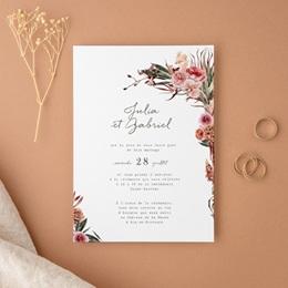 Faire-part de mariage Arche de fleurs pourpres, 12 x 16,7 cm