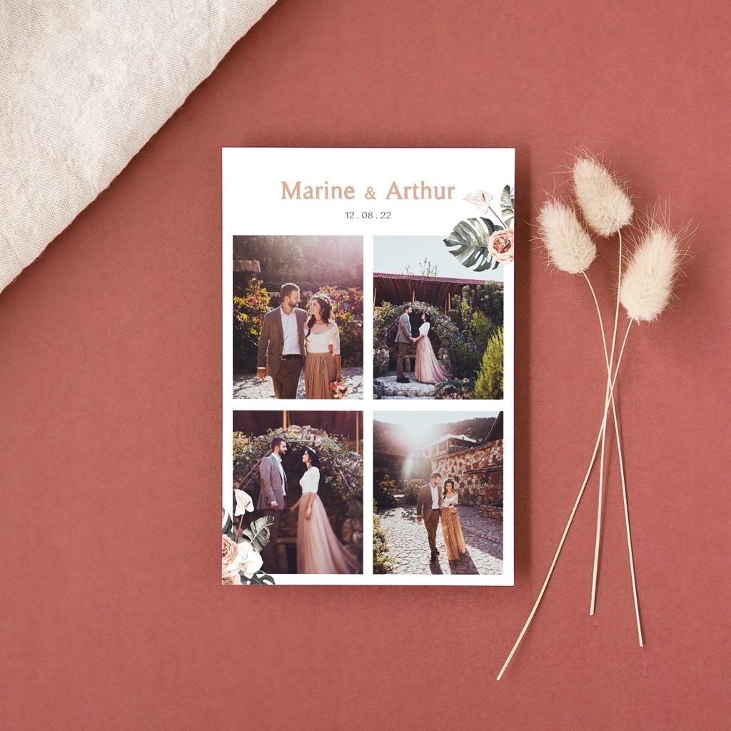Carte de remerciement mariage Bohème Fleuri, 4 photos, 10 x 15 cm gratuit