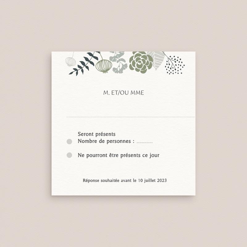 Carton réponse mariage Matcha, Rsvp, 10 x 10 pas cher