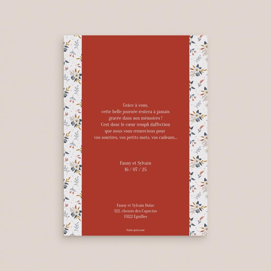 Carte de remerciement mariage Liberty Rouge, Portrait, 12 x 16,7 cm pas cher