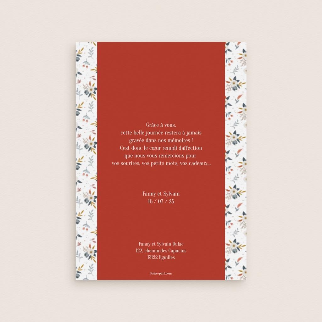 Carte de remerciement mariage Liberty Rouge, Portrait, 12 x 16,7 cm