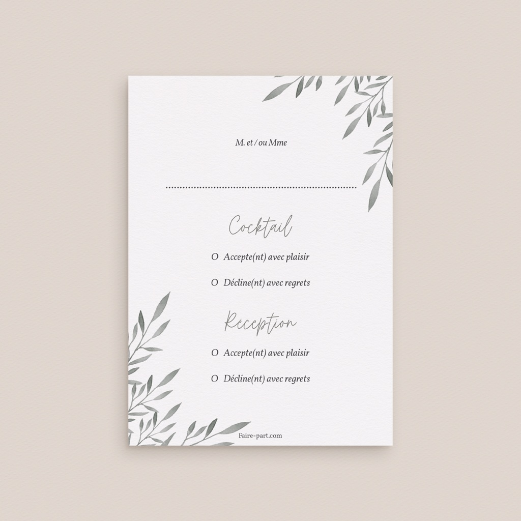 Carton réponse mariage Rameaux d'Olivier, Rsvp