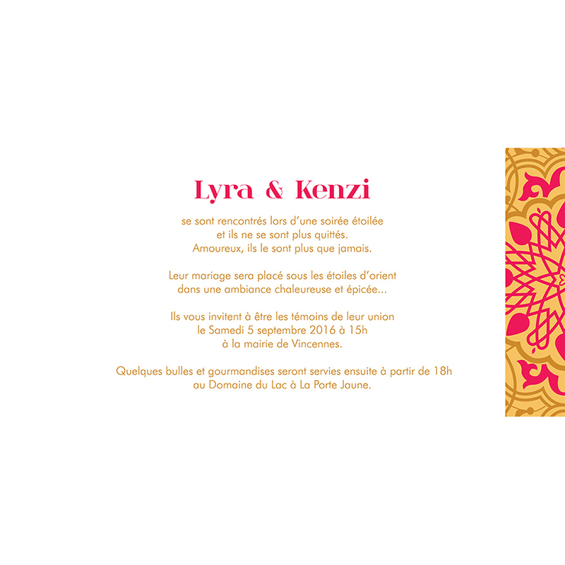 Faire-part de mariage Mauresque rose jaune