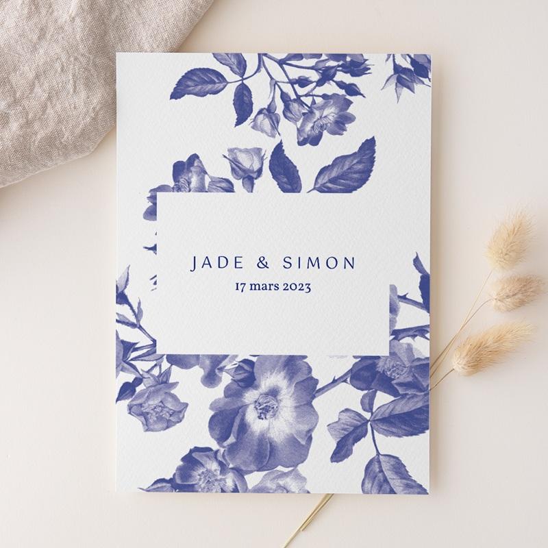 Faire-part de mariage Rhapsody, fleurs Bleues, 15 x 21 cm