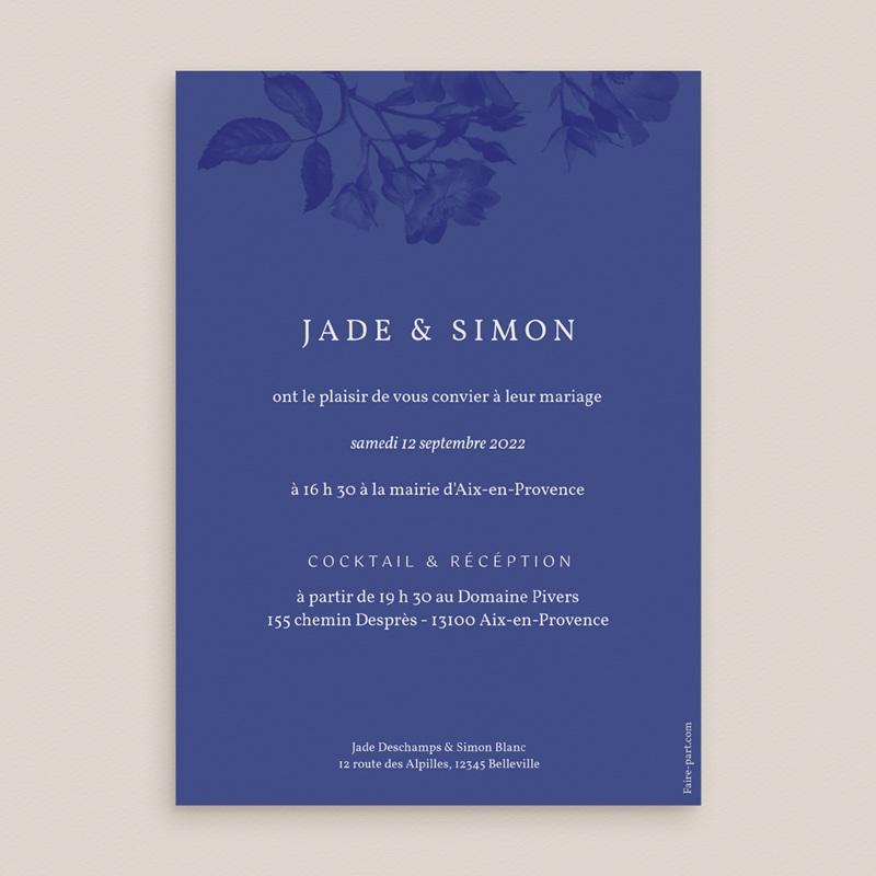 Faire-part de mariage Rhapsody, fleurs Bleues, 15 x 21 cm pas cher
