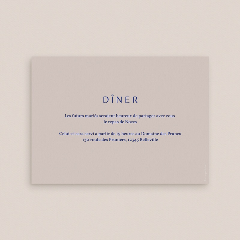 Carte d'invitation mariage Rhapsody, Dîner pas cher