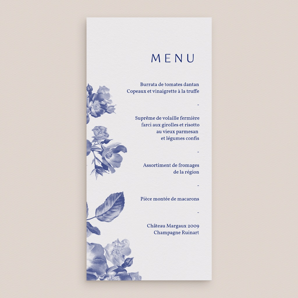 Menu mariage Rhapsody, fleurs Bleues, 21 x 10 gratuit