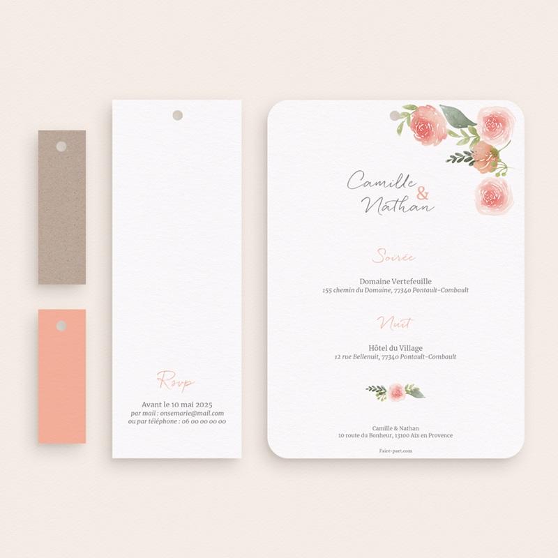 Faire-part de mariage Fleurs d'Aquarelle Kraft, 4 en 1 pas cher