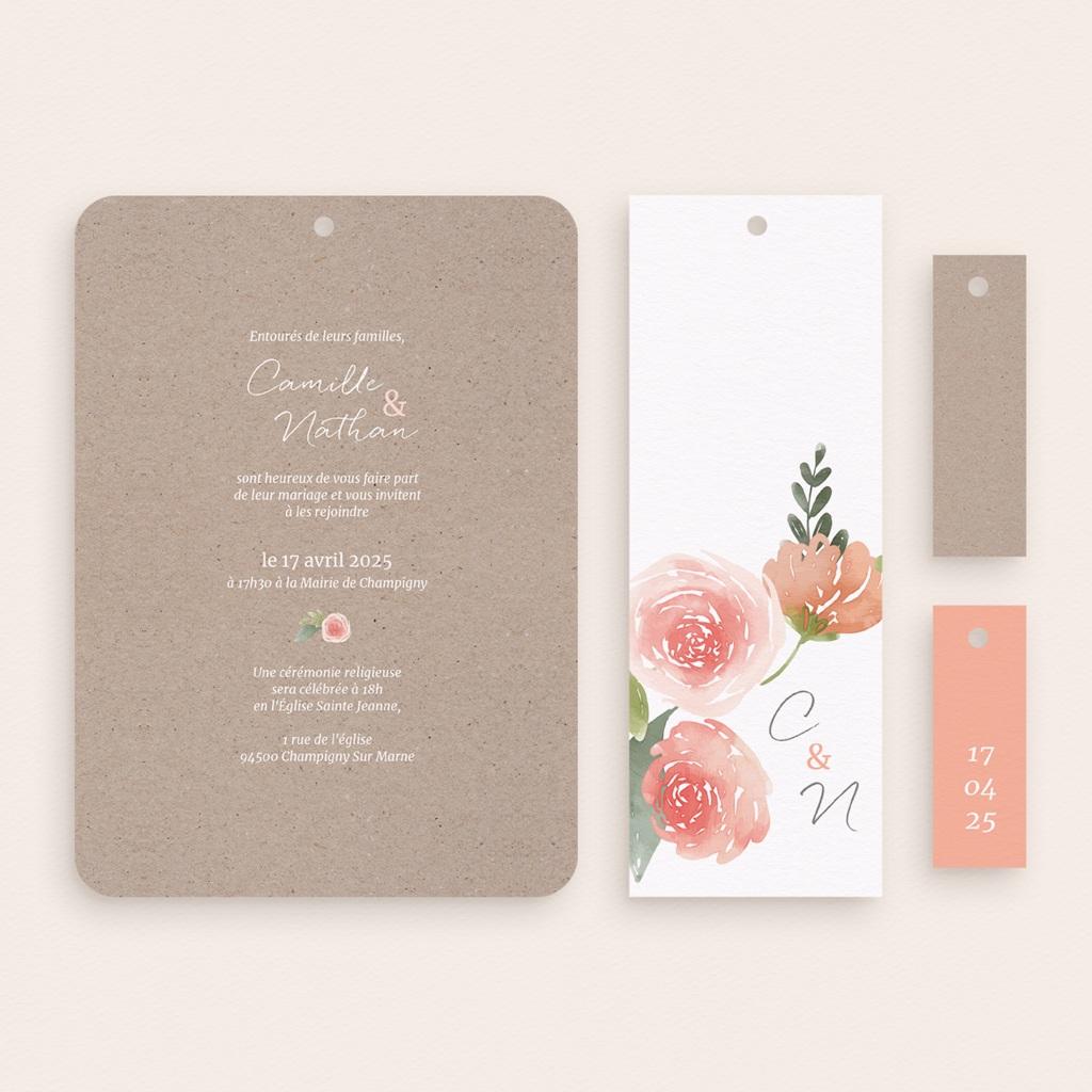 Faire-part de mariage Fleurs d'Aquarelle Kraft, 4 en 1