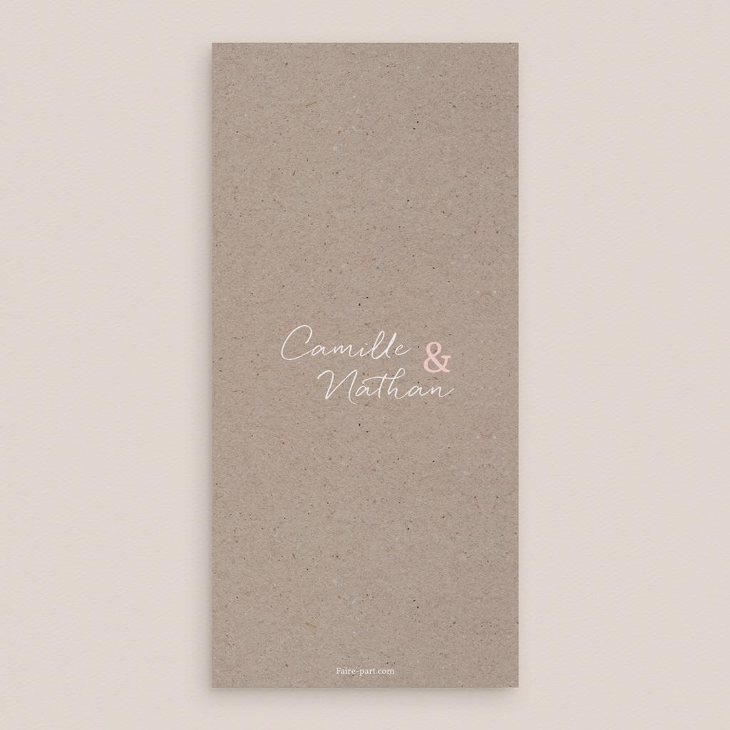 Menu mariage Fleurs d'Aquarelle Kraft, 10 x 21 pas cher