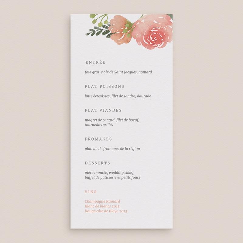 Menu mariage Fleurs d'Aquarelle Kraft, 10 x 21 gratuit