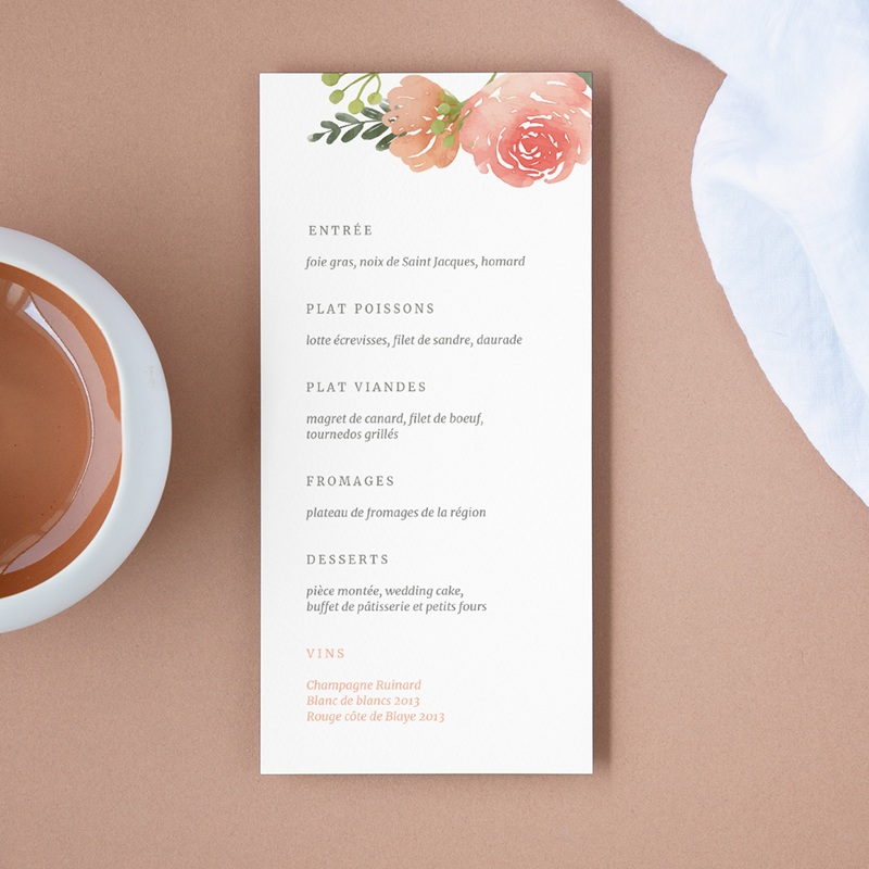 Menu mariage Fleurs d'Aquarelle Kraft, 10 x 21