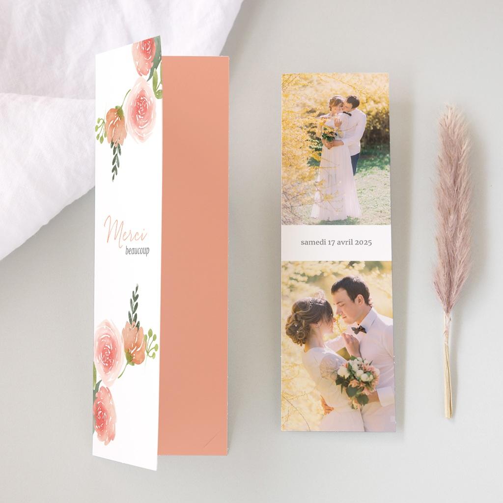 Carte de remerciement mariage Fleurs d'Aquarelle Kraft, 2 en 1