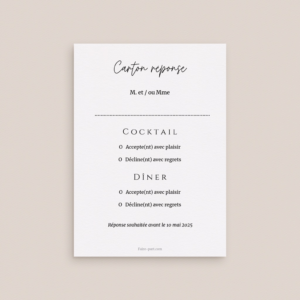 Save-the-date mariage Feuilles Nature Champêtre, Rsvp