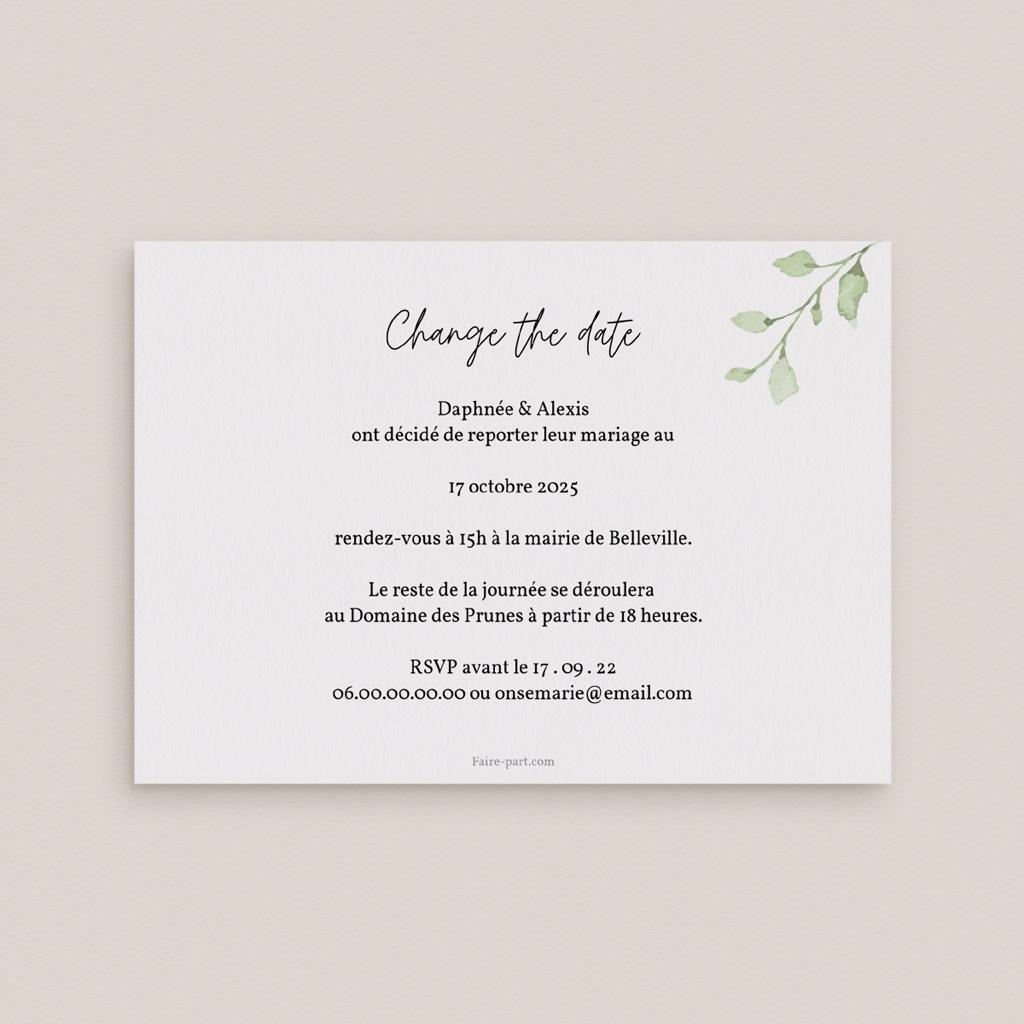 Change the date mariage Feuilles Nature Champêtre, date nouvelle pas cher