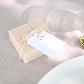 Marque-place mariage Couronne Olivier Naturel, souvenir invités