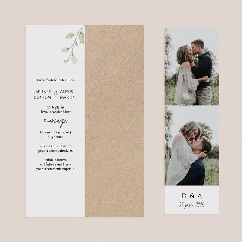 Faire-part de mariage Feuilles Nature Champêtre, 2 en 1, 2 photos pas cher