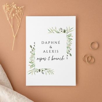 Carte d'invitation mariage Feuilles Nature Champêtre, Repas & Brunch