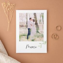 Carte de remerciement mariage Feuilles Nature Champêtre, Portrait, 12 x 16,7 cm