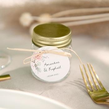 Etiquettes cadeaux mariage La Roseraie, Souvenir invité