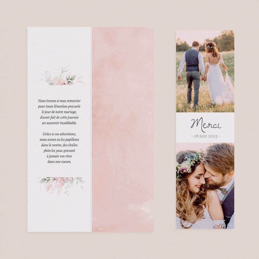 Carte de remerciement mariage été La Roseraie, 2 en 1 pas cher
