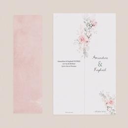 Carte de remerciement mariage été La Roseraie, 2 en 1