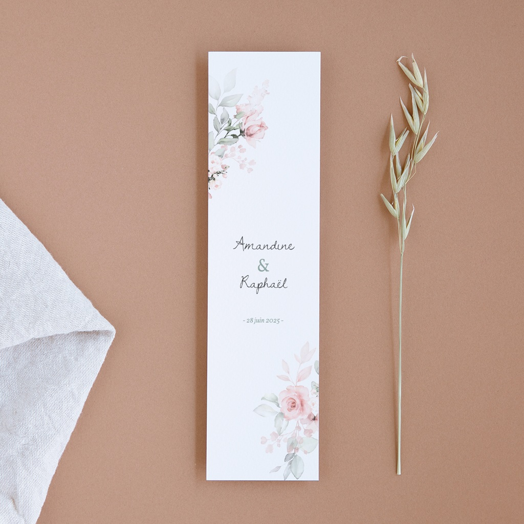 Save-the-date mariage La Roseraie, marque-page