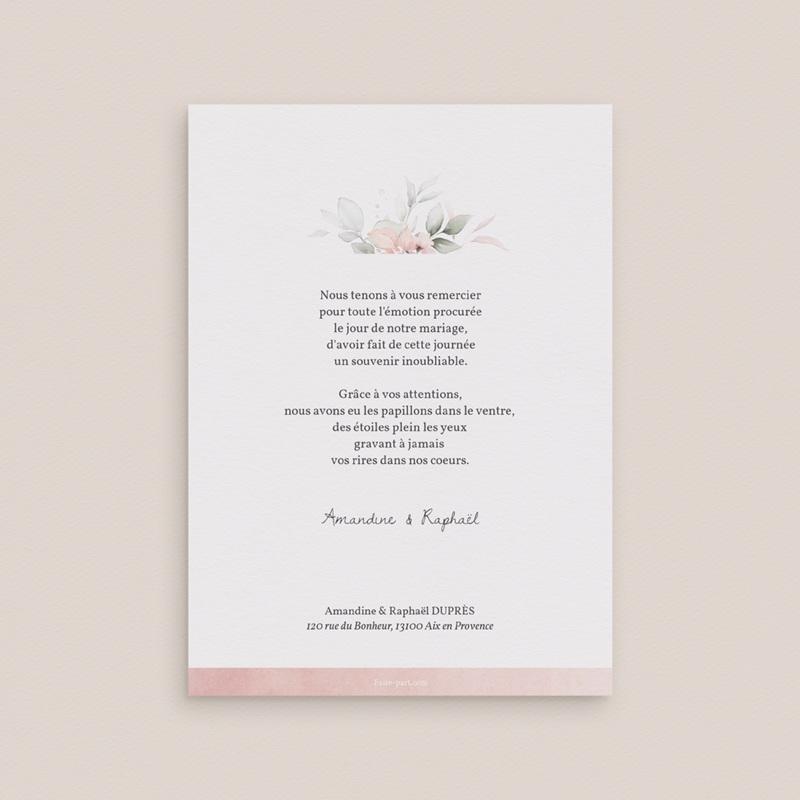 Carte de remerciement mariage La Roseraie, portrait mariés, 12 x 16,7 cm pas cher