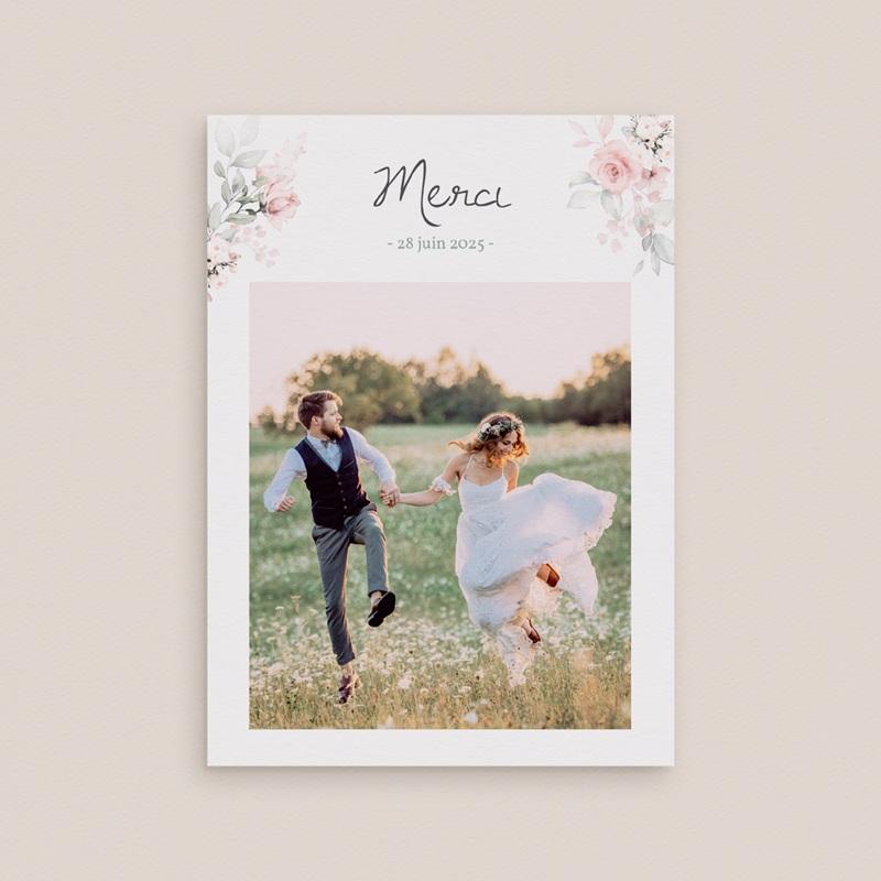 Carte de remerciement mariage La Roseraie, portrait mariés, 12 x 16,7 cm gratuit